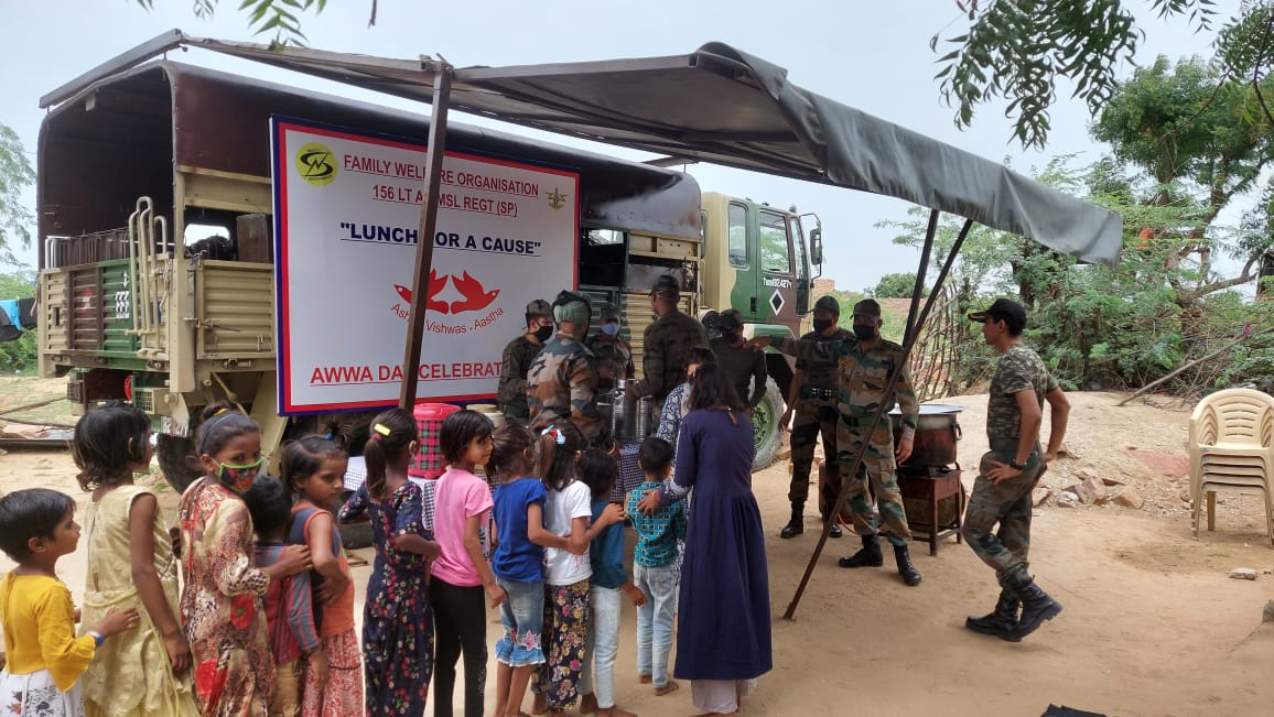 """""""Lunch for a Cause"""" from 156 LT AD MSL Regiment and Family Welfare Organizations of Indian Army"""